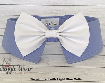 Formal White Dog Bow Tie, Detachable White Cotton Dog Necktie, Dog Ring Bearer Wedding Tie with Your Choice of Collar Color, Dog Wedding Tie
