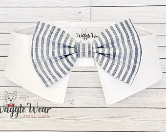 Dog Wedding Bow Tie with White and Gray Stripes, Dog Ring Bearer Tie, Wedding Necktie Tie - Your Choice Collar Color