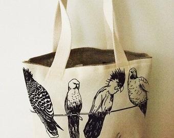 Tote Bag, Parrot, black ink