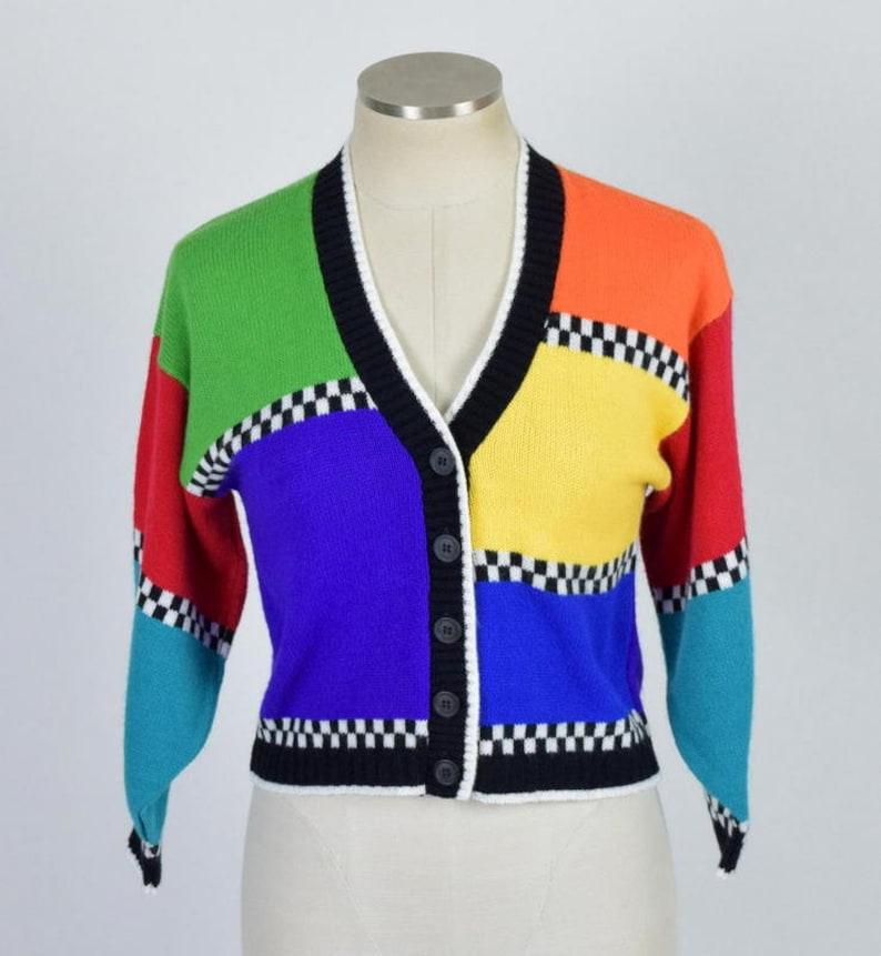Vintage Color Block Cardigan Sweater Knit 3 4 Sleeve Crop Top  c9738f02e