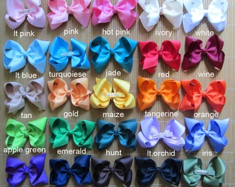 "10% off Set of 25 - 6"" big girl bows - dollar hair bows - girl bows, 25 colors to pick bows for girl, big bows, large bows, 6"" school bows"