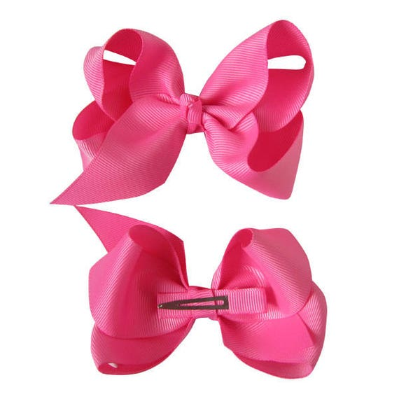 Lime Juice Dark Pink White 5-5 1//2 Inch Boutique Hair Bow Choose Clip