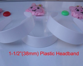 "50 pcs 1-1/2"" plastic headband without teeth USD25 for 50 pcs white plastic headband 6 sizes to choose"