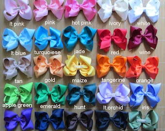 10% off Set of 25 pcs 5 inch boutique hair bows boutique bows, hair bows girl, boutique hair bow baby hair clips 25 colors to choose