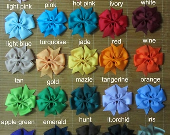 30 pcs 4 inch Toddler hair bow -boutique hair bow - big bows 25 colors to choose attached with the ribbon 45mm single prong alligator clip