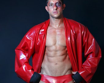 Latex Mens Dressing Gown Robe