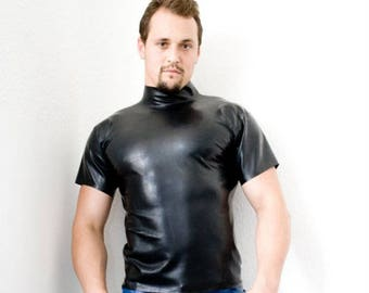 Latex Mens High Neck T Shirt