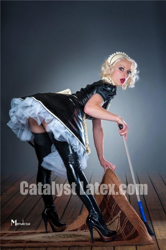 Latex French Maid Dress Etsy