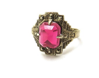 Sterling Silver Pink Stone Ring, Art Deco Ruby Glass Ring, Pink Stones, Pink Glass Statement Ring, Adjustable Ring, Ring Size 7,