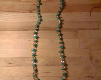 Semi precious turquoise chip and clear aurora borealis crystal bead necklace