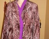 Cheetah jacket.Brown and pink Animal Print coat for her . Vintage jackets. pin up Girl.pink brown faux fur Madonna Rocker Jacket