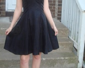Custom 1950s sewm gown, DEBBIE REYNOLDS Hounds-tooth Vintage dress. Black Taffeta. Shoulder-less. Strapless. One of a kind.