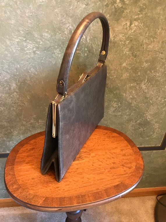 MILCH  Kelly Handbag 1950s. Red Leather lining.Br… - image 2