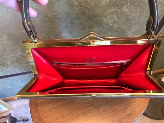 MILCH  Kelly Handbag 1950s. Red Leather lining.Br… - image 4