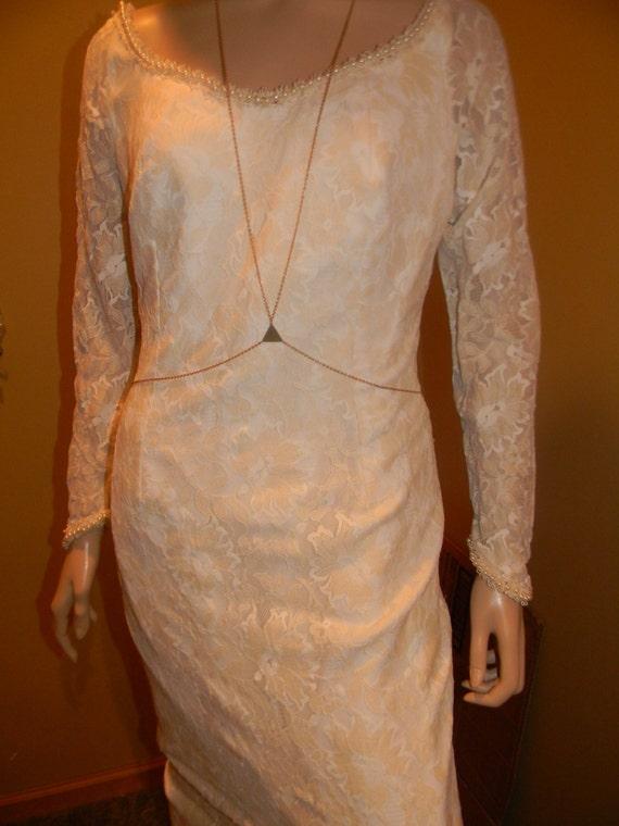 with Lace Grace silk Vintage Princess Ecru Cream cream beading Vintage wedding Monaco dress sheath style sheath crystal of fitted zFYzwa