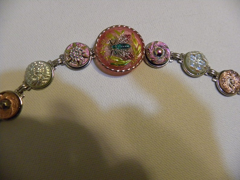 Button Bracelet  Hand Painted Czech GLASS INSECT  with irridescent lustre glass