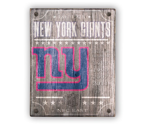 22d1a2e0f New York Giants Super Bowl sign Print applied to wood