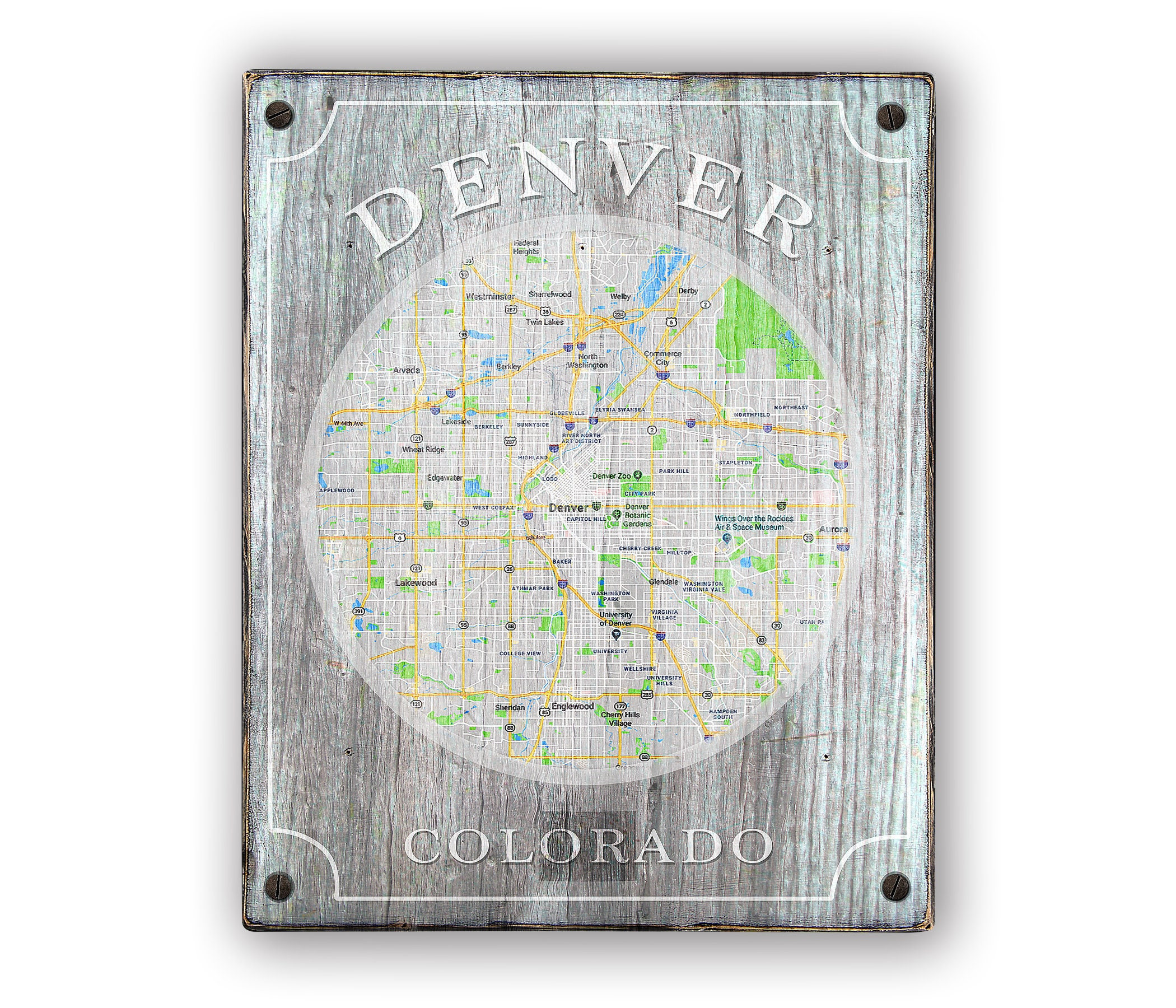 Denver Colorado Map Sign Print Applied To Wood Custom Etsy