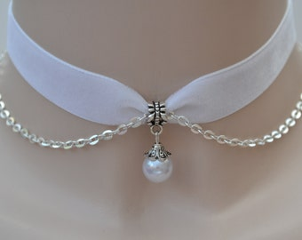 5433faab0 Vintage Style Faux White PEARL Bead With SP Chain WHITE Velvet Ribbon  Choker Necklace -wl... or choose another colour velvet  )
