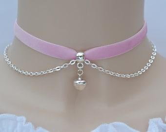 Jingle Bell Chain Pink Velvet Choker, 16 colours, 10mm Ribbon