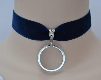 THICK O RING NAVY Velvet Choker, 12 Ribbon Colours, Wide 22mm Blue