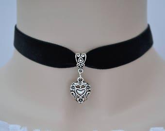 HEART in HEART BLACK Velvet Choker, Choose 16mm Ribbon Colour & Size :)