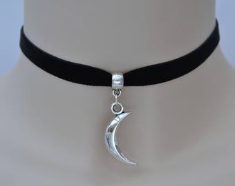 MOON BLACK Ribbon Choker, Solid Crescent, 16 Velvet Colours, 10mm