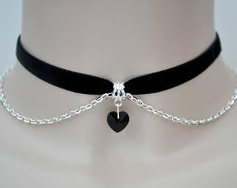 BLACK Crystal Glass HEART Chain Velvet Choker, 16 Colours, 10mm