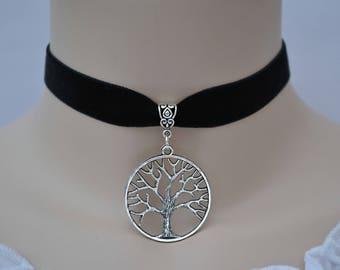 TREE OF LIFE Black Velvet Choker Necklace, 30 Colours, 16mm Ribbon