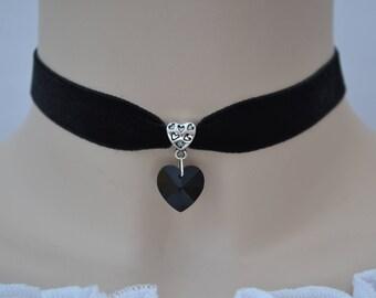 BLACK GLASS HEART Black Velvet Choker, 30 Ribbon Colours, 16mm