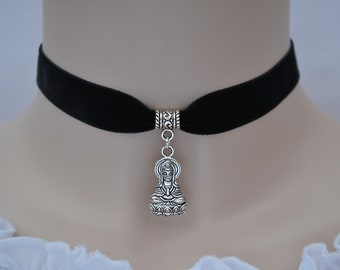 Kwan Yin / Quan Yin BUDDHA Charm BLACK Velvet Choker Necklace, 30 Ribbon Colours In 16mm Width