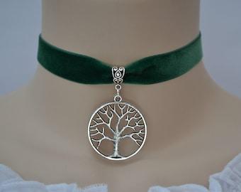 Large TREE OF LIFE Green Velvet Choker Necklace, 30 Colours, 16mm Ribbon, Handmade