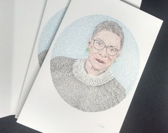RBG Micrography Greeting Card: Justice Justice Shall You Pursue + May Her Memory Be A Revolution   Ruth Bader Ginsburg - Feminist Jewish Art