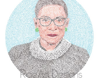 RBG Micrography Print: Justice, Justice Shall You Pursue + May Her Memory Be A Revolution   Ruth Bader Ginsburg   Feminist Jewish Art