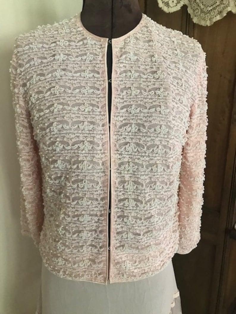 Vintage Pink Beaded Sigal/'s Exclusive Fashions Jacket Sz 8 Hong Kong Pearls Dressy