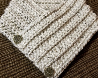 Cream Cowl, Button Cowl, Aspen, Crochet