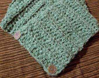 Green Chunky Cowl, Button Cowl, Crochet