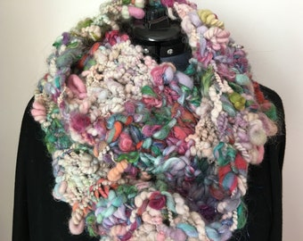 Handspun, Knitted Scarf/Ascot/Cowl/infinity scarf