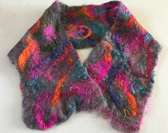 Felted and Stitched Wool Ascot/Scarf