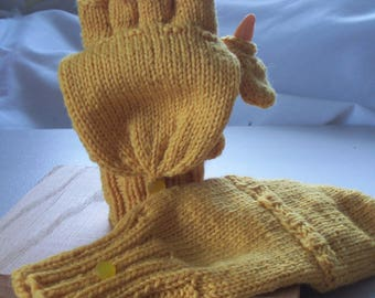 Wool convertible mittens / fingerless gloves, size M, glittens, flip top mittens, with flip thumb