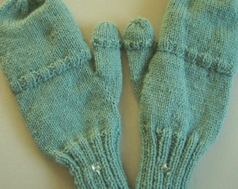 Convertible mittens / fingerless gloves, adult L, flip top mittens, flip thumb, texting mitts