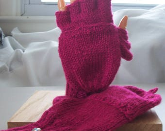 Convertible mittens / fingerless gloves, size S, flip top mittens, flip thumb, texting gloves, glittens