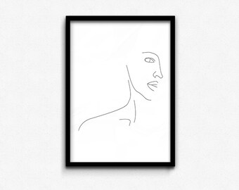 Half Face Contour • Abstract Print • Graphic Poster • Printable Wall Art • Digital Printable • Instant Download