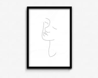 Face Contour • Abstract Print • Graphic Poster • Printable Wall Art • Digital Printable • Instant Download