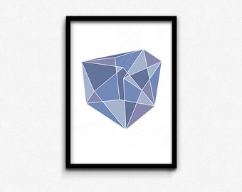 Blue Geometric Gem • Abstract Print • Graphic Poster • Printable Wall Art • Digital Printable • Instant Download