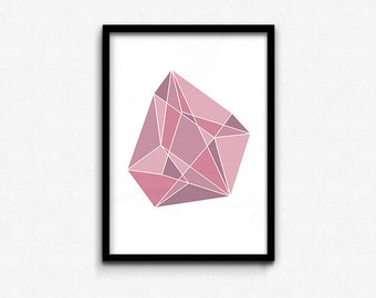 Pink Geometric Gem • Abstract Print • Graphic Poster • Printable Wall Art • Digital Printable • Instant Download