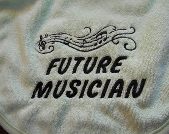 Future Musician Bib*, Treble Clef Music Bib, Made To Order Bib, You Choose Colors, Baby Shower Gift, Music Notes, Musician, Gender Neutral