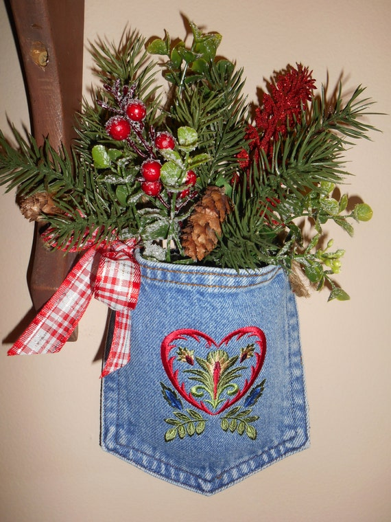 Door Hanger Polish Christmas Holiday Decor Denim Pocket Embroidery Poland Decor Wycinanki Embroidery Upcycled Pocket Christmas Gift