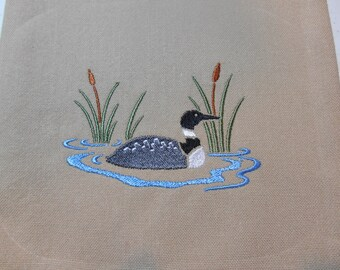 Common Loon, Kitchen Towel, Beige Cotton Towel, Loon Embroidery, Loon with Cattails, Cabin Decor, Bridal Shower Gift,  Housewarming Gift