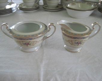 Vintage Noritake Porcelain China Sugar Bowl & Creamer Colby Pattern Circa 1950